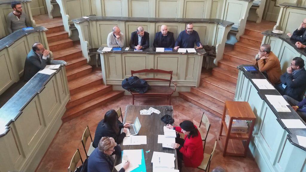 Scatto durante la conferenza stampa del 7 maggio 2019 nel Teatro Anatomico della Biblioteca Ariostea